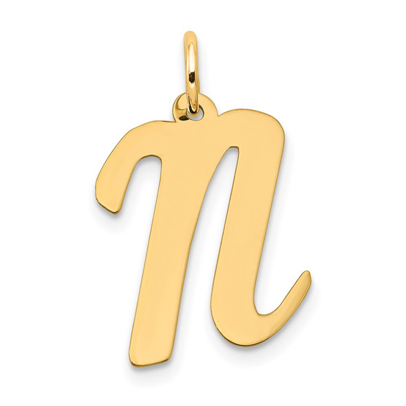 14k Yellow Gold Large Script Initial N Charm
