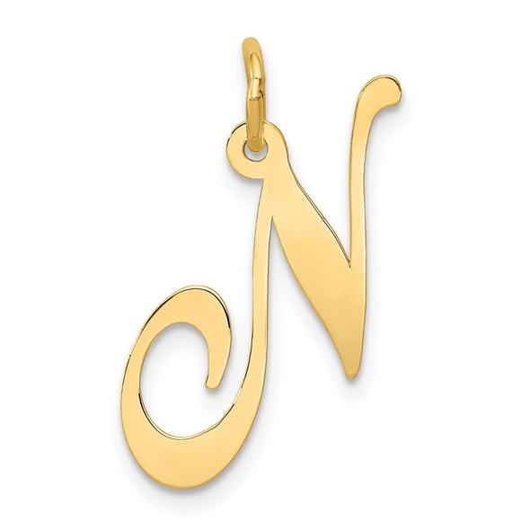 14k Yellow Gold Large Fancy Script Initial N Charm
