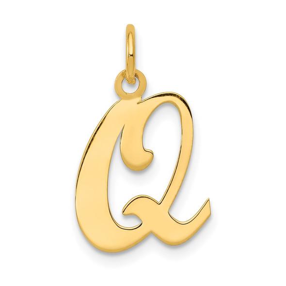 14k Yellow Gold Initial Q Charm