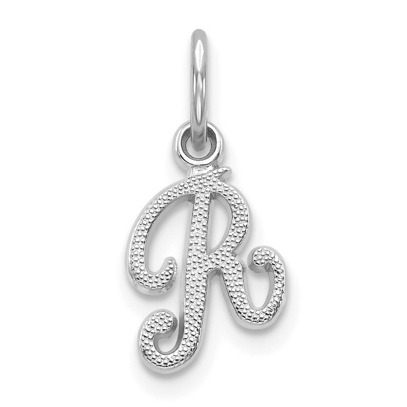14k White Gold Casted Initial R Charm
