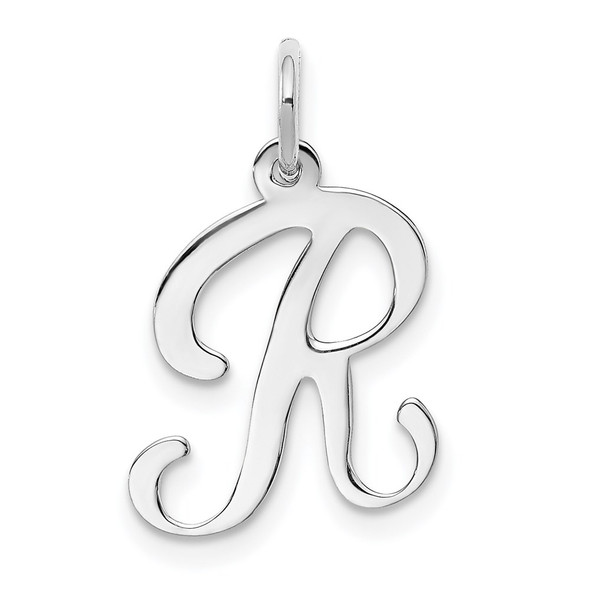 14k White Gold Initial R Charm