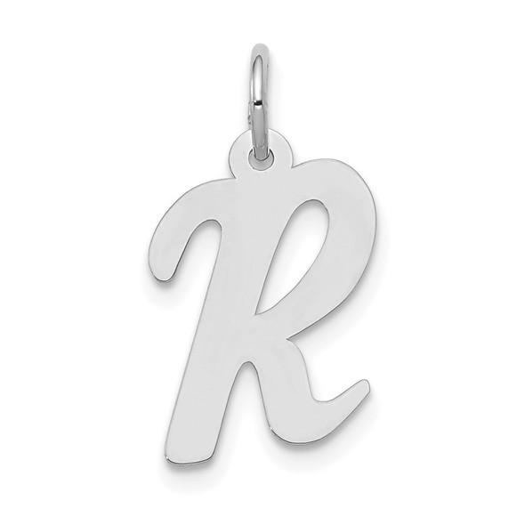 14K White Gold Medium Script Initial R Charm
