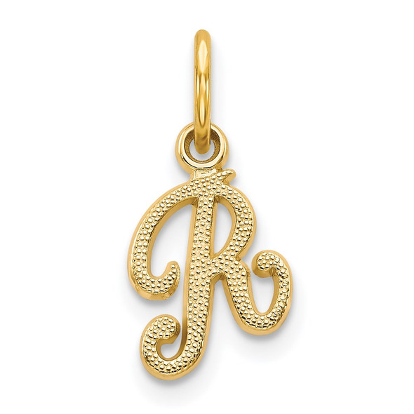 14k Yellow Gold Casted Initial R Charm