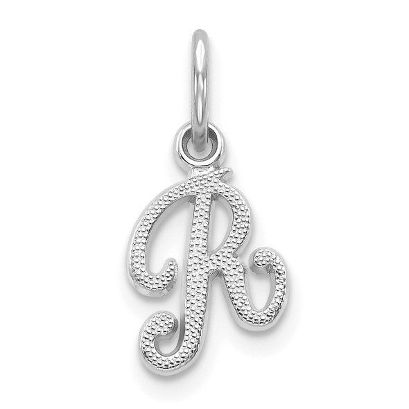 10k White Gold Initial R Charm