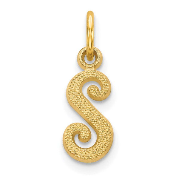 14k Yellow Gold Casted Initial S Charm