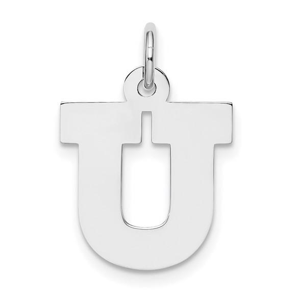 Sterling Silver Rhodium-plated Medium Block Initial U Charm
