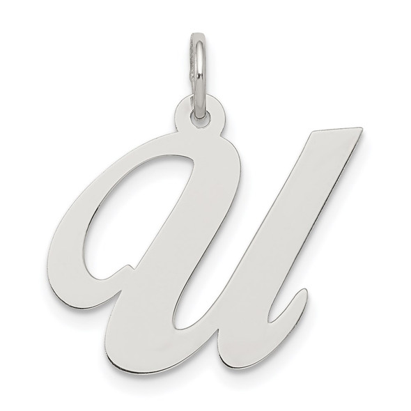 Sterling Silver Rhodium-plated Large Fancy Script Initial U Charm