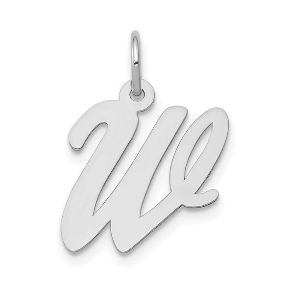 14K White Gold Medium Script Initial W Charm