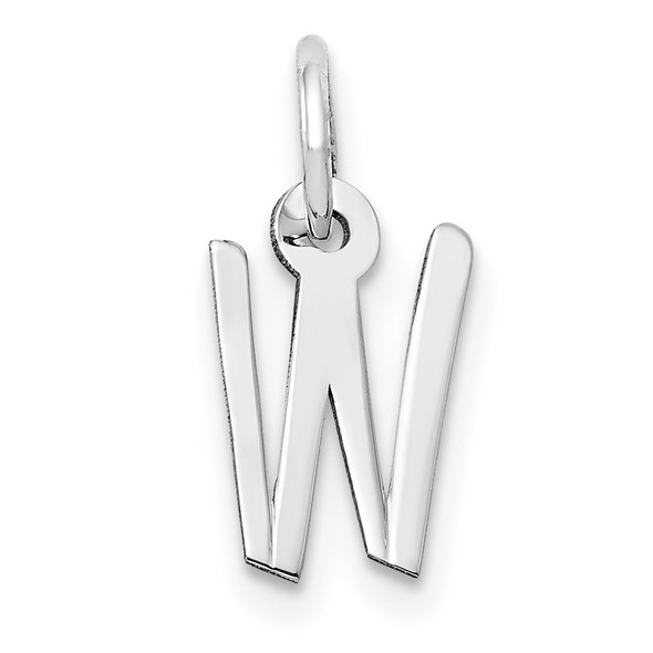 14K White Gold Small Slanted Block Initial W Charm
