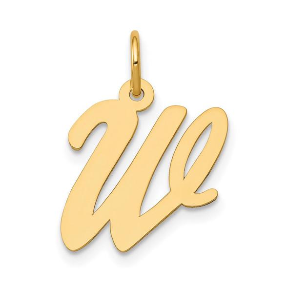 14k Yellow Gold Medium Script Initial W Charm