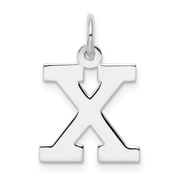 Sterling Silver Rhodium-plated Medium Block Initial X Charm