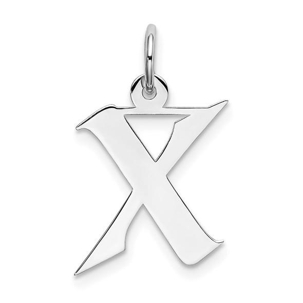 Sterling Silver Rhodium-plated Medium Artisan Block Initial X Charm