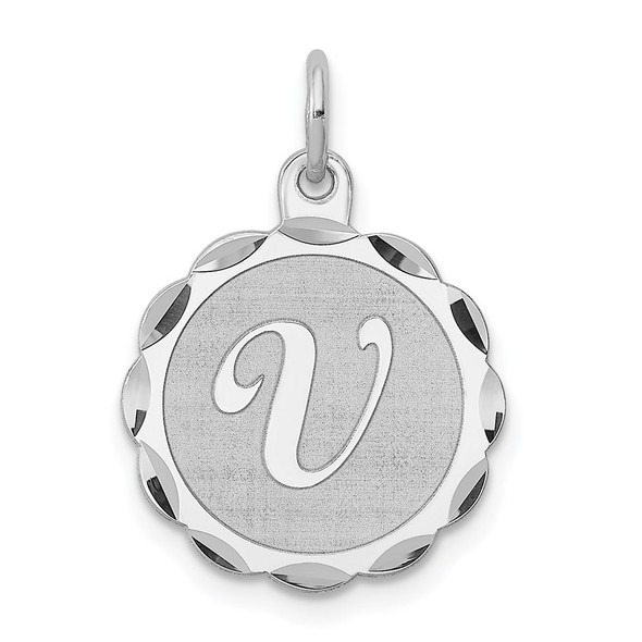 Sterling Silver Rhodium-plated Brocaded Initial Y Charm