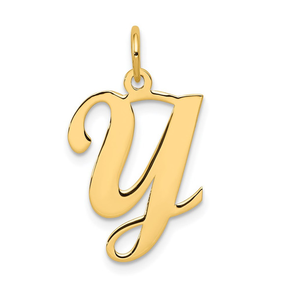 14k Yellow Gold Initial Y Charm