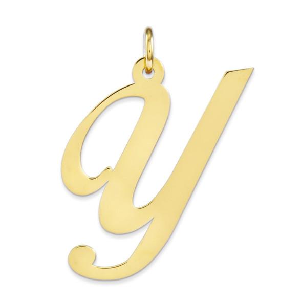 14k Yellow Gold Large Fancy Script Initial Y Charm