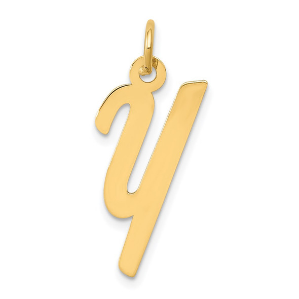 14k Yellow Gold Medium Script Initial Y Charm