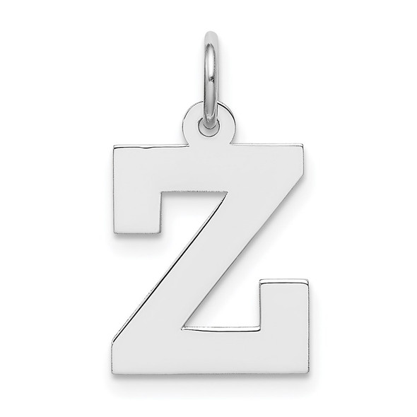 Sterling Silver Rhodium-plated Medium Block Initial Z Charm