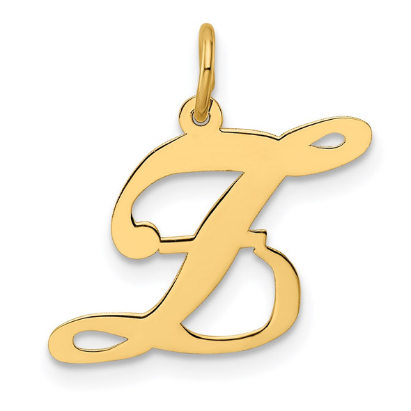 14k Yellow Gold Medium Fancy Script Initial Z Charm