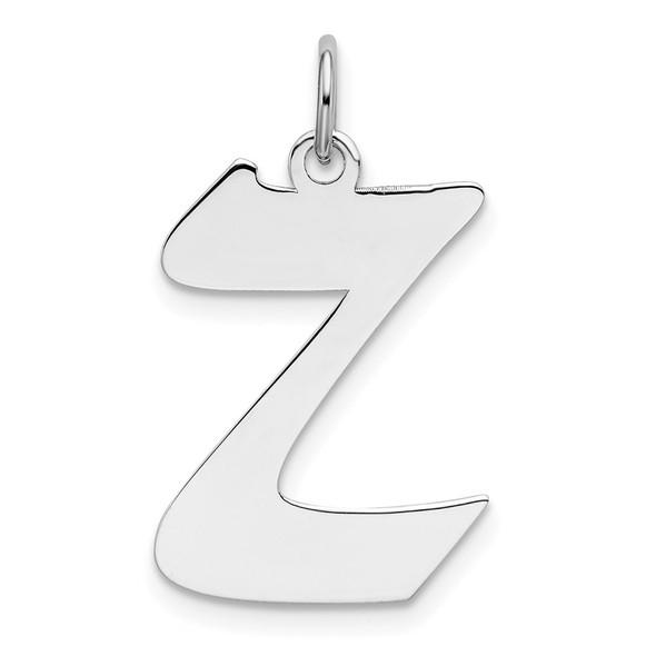Sterling Silver Rhodium-plated Medium Artisan Block Initial Z Charm
