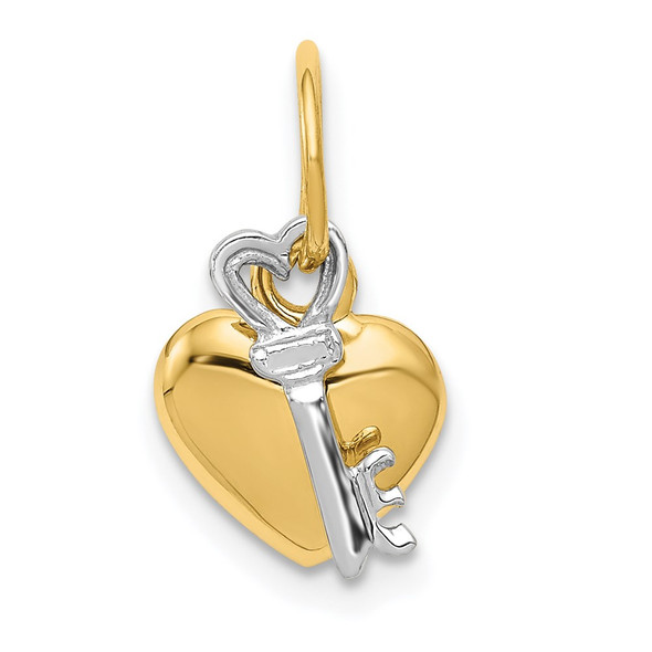 14k Yellow and White Gold Heart and Key Charm D603