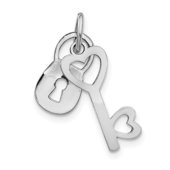 14k White Gold Polished Lock and Key Charm