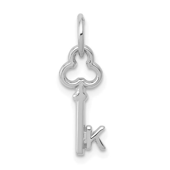14k White Gold Letter K Key Charm