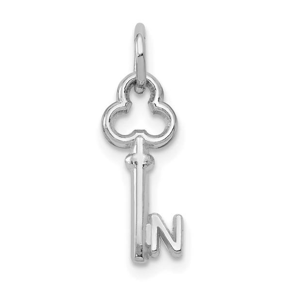 14k White Gold Letter N Key Charm