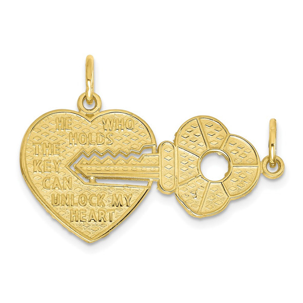 10k Yellow Gold Heart and Key Charm 10C413