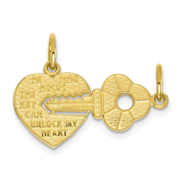 10k Yellow Gold Heart and Key Charm 10C214