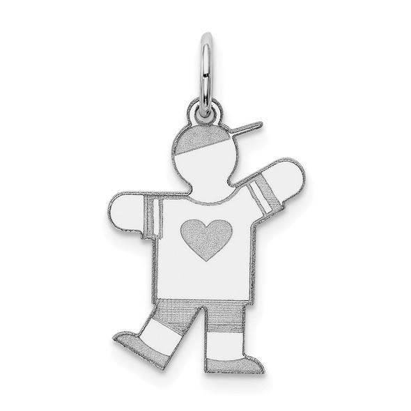 14k White Gold Boy w/Heart Charm XK1145W