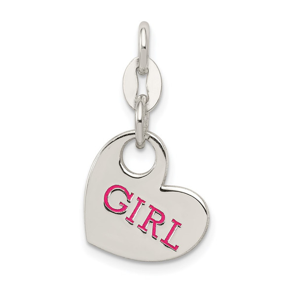 Sterling Silver Polished Enamel Girl Charm