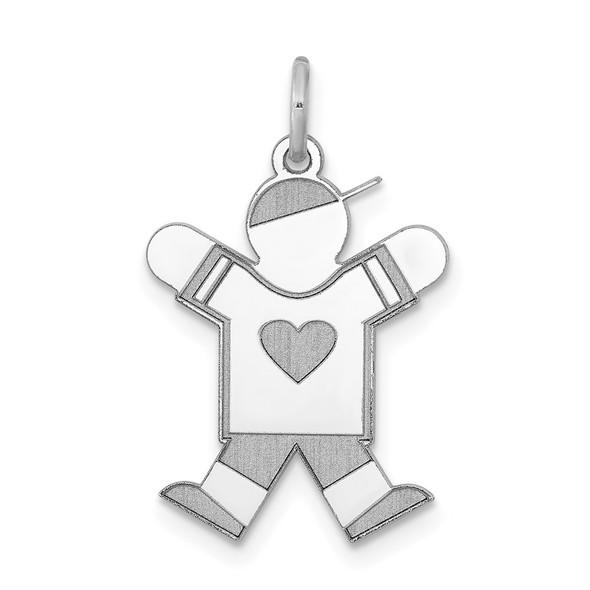 14k White Gold Boy w/Heart Charm XK1146W