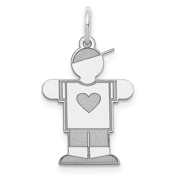 14k White Gold Boy w/Heart Charm XK1144W