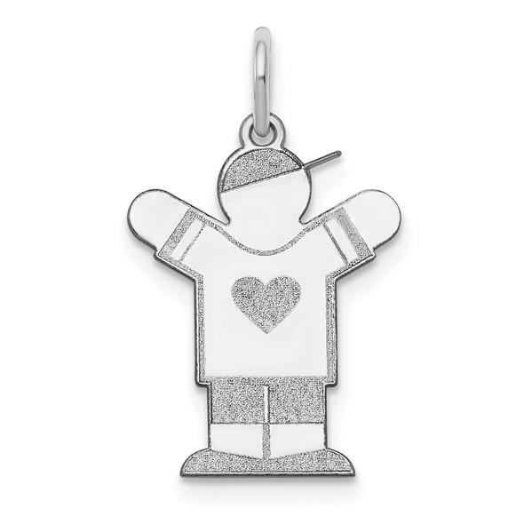 14k White Gold Boy w/Heart Charm XK1147W
