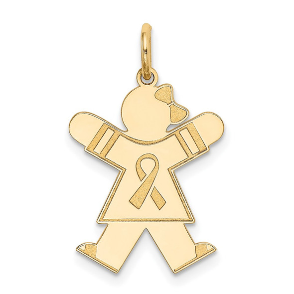 14k Yellow Gold Girl w/Awareness Ribbon Charm XK1154Y