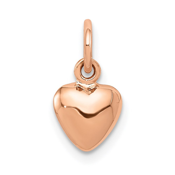 14k Rose Gold Rose Polished 3-D Puffed Heart Charm K796