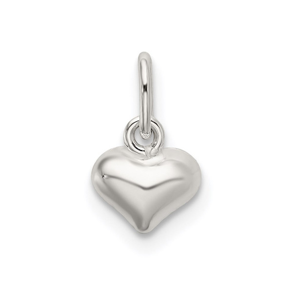 Sterling Silver Polished Puffed Heart Charm QC9183