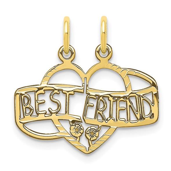10k Yellow Gold BEST FRIEND 2 Piece Break-A-Part Charm
