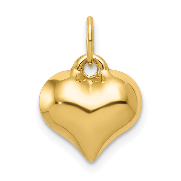 14k Yellow Gold Polished 3-D Puffed Heart Charm C2907