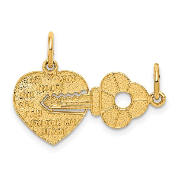 14k Yellow Gold Heart and Key Break Apart Charm