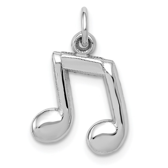 14k White Gold Polished Musical Notes Charm D1255