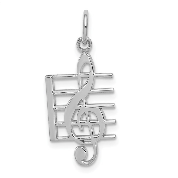 14k White Gold Musical Staff Charm