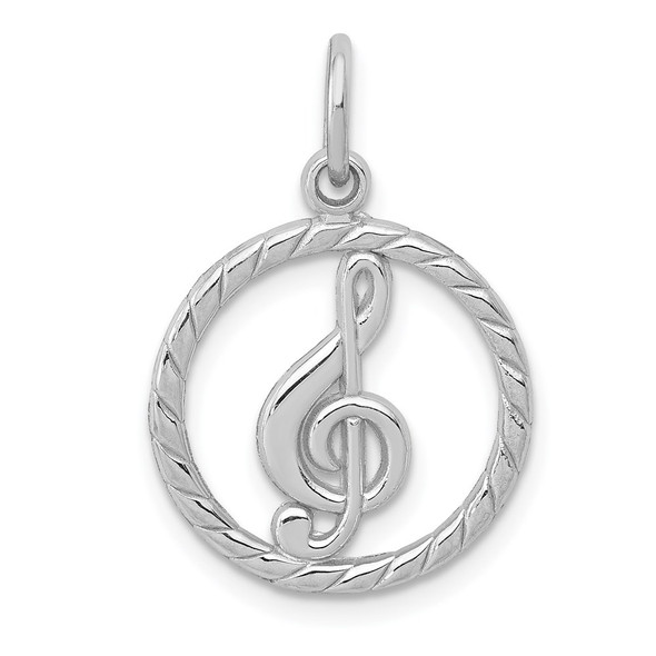 14K White Gold Polished Treble Clef In Circle Charm