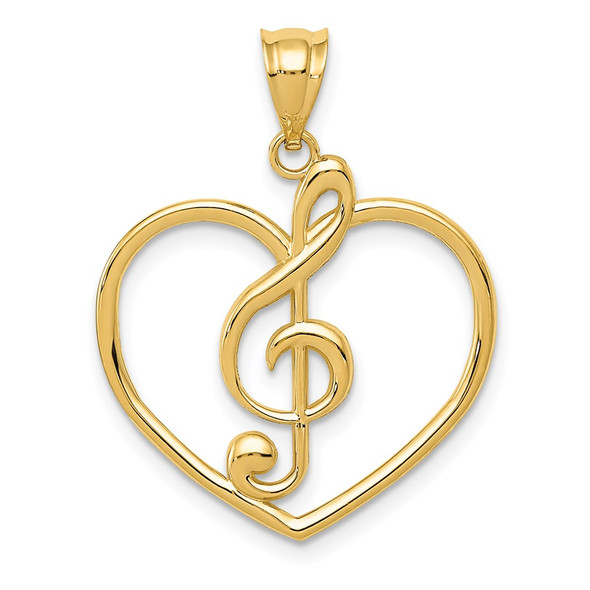 14k Yellow Gold Treble Clef In Heart Charm