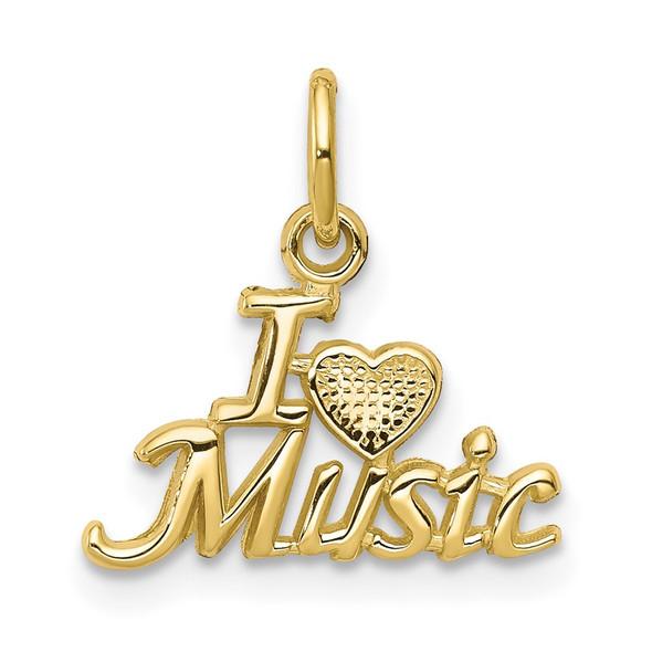 10k Yellow Gold I LOVE MUSIC Charm