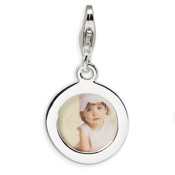 Sterling Silver Polished Circle Frame w/Lobster Clasp Charm