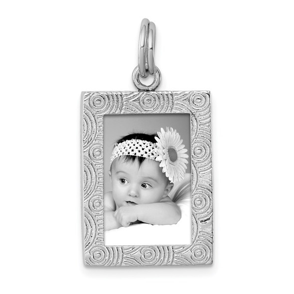 Sterling Silver Rhodium-plated Polished Picture Frame Charm
