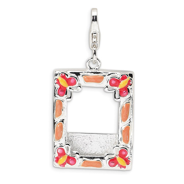 Sterling Silver Rhodium-Plated 3-D Enameled Photo Frame w/Lobster Clasp Charm