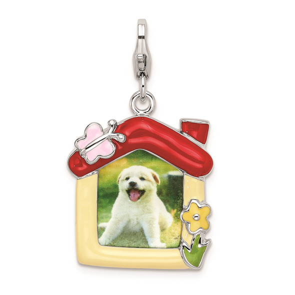Rhodium-Plated Sterling Silver Enameled Pet Picture Frame w/Lobster Clasp Charm