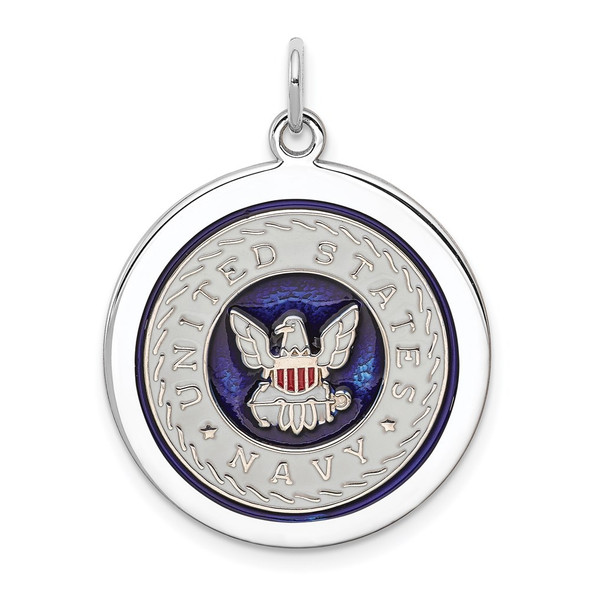 Sterling Silver Rhodium-plated US Navy Disc Charm XSM151